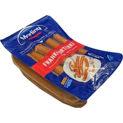 """""""Morliny frankfurterki"""" Rūkytos dešrelės  viena pakuotė ~ 800g kaina £1,06 per 100g"""
