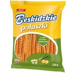 Šiaudeliai su surio ir svogūnų skoniu 220g (Sticks with cheese and onion flavor)