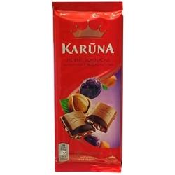 """Pieninis šokoladas su razinom ir riešutais""""Karūna""""(chocolate with rasins and nuts) 90g"""