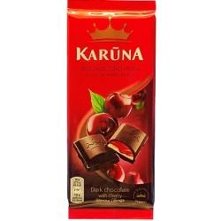 """""""Karūna"""" Juodas šokoladas su vyšnių skonio įdarais 90g (dark chocolate with cherry flavour)"""