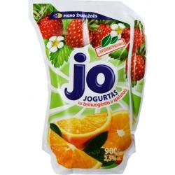 """Jo"" Jogurtas su braškiu ir apelsinu skoniu 900g (Yogurt with strawberries and orange)"