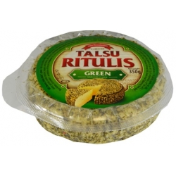 """Talsu Ritulis""(Green)Varškės sūris su žolelėm 350g 48% (curd cheese coated in spice and herbs mix)"