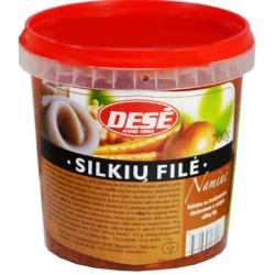 """Dese"" Salotos su troškintomis daržovėmis ir sudyta silkių file 700g (Salad with stewed vegetables and salted herring fillet)"