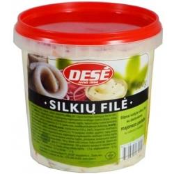 """""""Dese"""" Silpnai sūdyta silkių filė su daržovėmis majoneso padaže 700g (Lightly salted herring fillet with vegetables in mayonnaise)"""