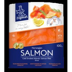 """""""Zigmas"""" Šaltai rūkyta lašišų filė 100g (c/s atlantic salmon file)"""