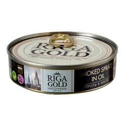 """""""Riga gold"""" Rūkyti šprotai aliejuje 160g grynas svoris 112g (Smoked sprats in oil)"""