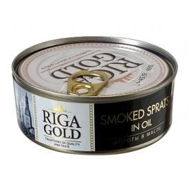 """""""Riga gold"""" Rūkyti šprotai aliejuje 240g grynas svoris 168g (Smoked sprats in oil)"""