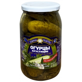 """Aldim"" Konservuoti agurkai su krapais 900g(Pickled gherkins with dill)"