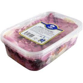 """""""ASORTI"""" Silkės salotos  """"Silkė pataluose"""" 500g ( Herring salad)"""
