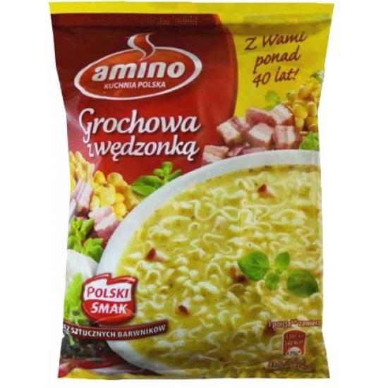 """""""Amino"""" Žirnių sriuba su makaronais ir rūkytu kumpiu 65g (Instant pea soup with noodles and smoked bacon)"""