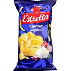 """""""Estrella"""" Grietinės ir svogūnų skonio bulvių traškučiai 130g"""