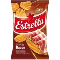 """""""Estrella""""Rūkytos šoninės skonio bulvių traškučiai 130g(Smokey bacon taste)"""