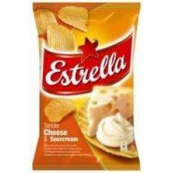"""""""Estrella""""Bulvių traškučiai sūrio skoniu 130g """"Estrella"""" (cheese taste)"""